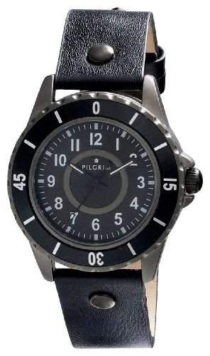 Pilgrim Herren-Armbanduhr XL Analog Quarz Leder 701343101