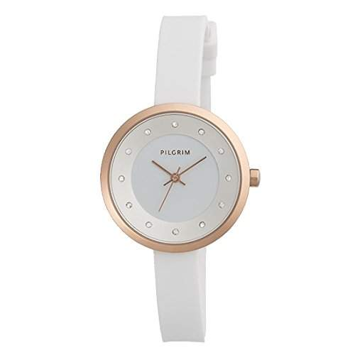 Pilgrim Damen-Armbanduhr Analog Quarz weiss 701514003
