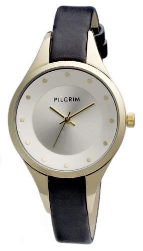 Pilgrim Damen-Armbanduhr XS Uhr mit Lederarmband Analog Leder 701212110