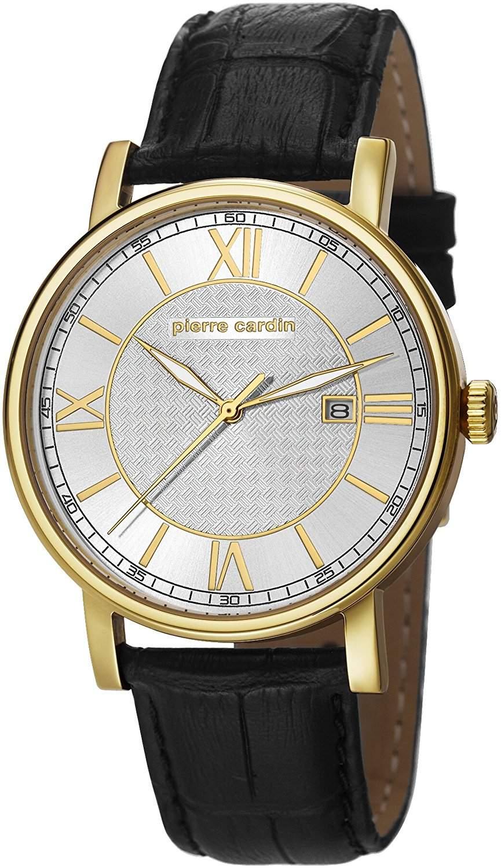 Pierre Cardin MONTPARNASSE Herrenuhr Edelstahl Gold Lederband Schwarz PC106501F02