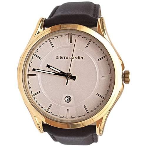 Pierre Cardin Armbanduhr Herrenuhr Quarz Uhr PC-Olivet - Analoge Uhr mit Datum, braunem Lederarmband und weissem Zifferblatt - 50m5atm - PC107221F03