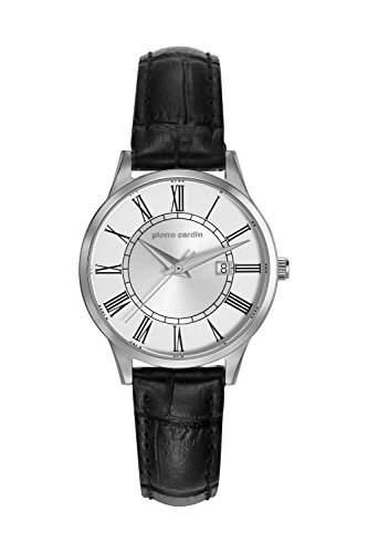 Pierre Cardin Armbanduhr Damenuhr Quarz Uhr PC-Le Bouscat - Analoge Uhr mit Datum, schwarzem Lederarmband und silbernem Zifferblatt - 30m3atm - PC901732F01