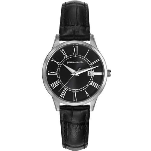 Pierre Cardin Armbanduhr Damenuhr Quarz Uhr PC-Le Bouscat - Analoge Uhr mit Datum, schwarzem Lederarmband und schwarzem Zifferblatt - 30m3atm - PC901732F02