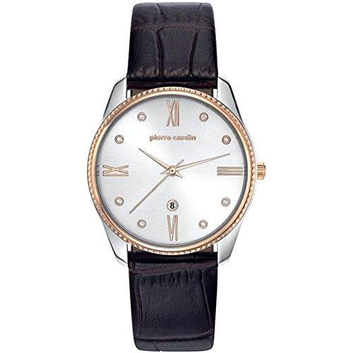 Pierre Cardin Armbanduhr Damenuhr Quarz Uhr Chatelet Femme Analoge Uhr mit braunem Lederarmband und silbernem Zifferblatt 30m 3atm PC107572F04
