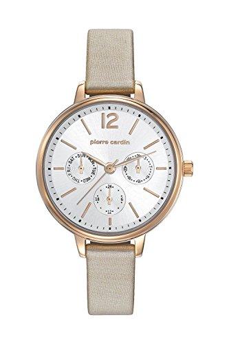 Pierre Cardin Armbanduhr Damenuhr Quarz Uhr Ledru Femme Analoge Uhr mit Datum beigem Lederarmband und silbernem Zifferblatt 50m 5atm PC107592F06