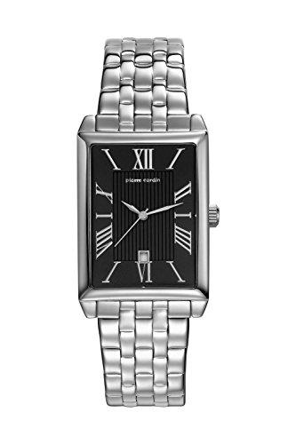 Pierre Cardin Armbanduhr Quarz Uhr PC Belneuf Analoge Uhr mit Datum silbernem Edelstahlarmband und schwarzem Zifferblatt 30m 3atm PC107212F13