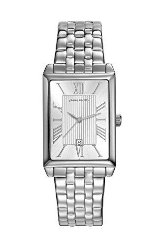 Pierre Cardin Armbanduhr Quarz Uhr PC Belneuf Analoge Uhr mit Datum silbernem Edelstahlarmband und silbernem Zifferblatt 30m 3atm PC107212F12