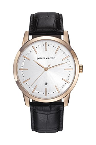 Pierre Cardin Armbanduhr Herrenuhr Quarz Uhr Alfort Homme Analoge Uhr mit schwarzem Lederarmband und silbernem Zifferblatt 30m 3atm PC901861F02