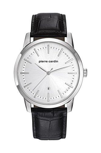 Pierre Cardin Armbanduhr Quarz Uhr Alfort Homme Steel Analoge Uhr mit schwarzem Lederarmband und silbernem Zifferblatt 30m 3atm PC901861F01