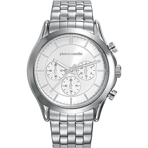 Pierre Cardin Armbanduhr Herrenuhr Chronograph Quarz Uhr Botzaris Homme Steel Analoge Uhr mit silbernem Edelstahlarmband und weissem Zifferblatt 50m 5atm PC107201F04