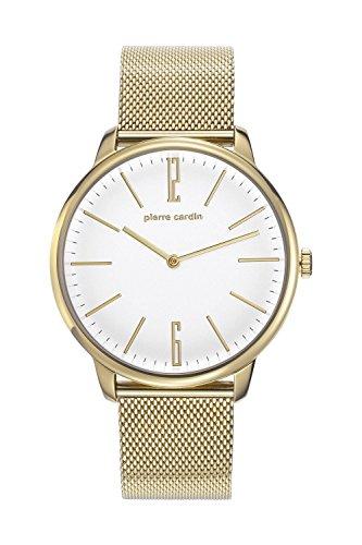 Pierre Cardin Armbanduhr Herrenuhr Quarz Uhr La Gloire Homme Analoge Uhr mit goldenem Edelstahlarmband und weissem Zifferblatt 30m 3atm PC106991F30