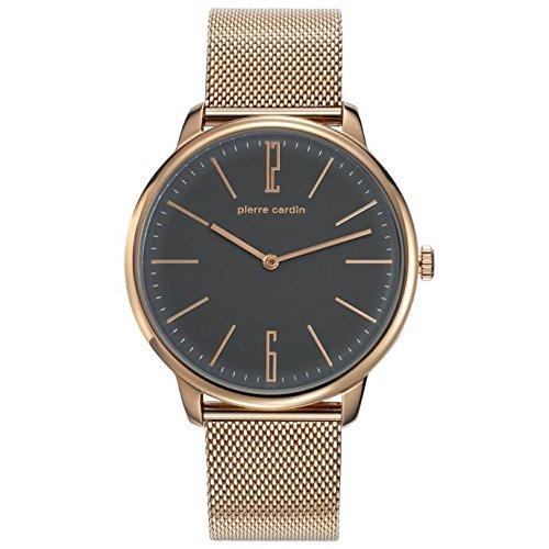 Pierre Cardin Armbanduhr Quarz Uhr La Gloire Homme Rose Analoge Uhr mit rosegoldenem Edelstahlarmband und grauem Zifferblatt 30m 3atm PC106991F32
