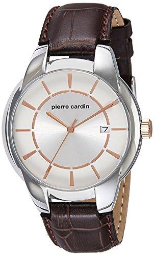 Pierre Cardin Herren Armbanduhr Armband Leder Braun Gehaeuse Edelstahl Batterie Analog PC107941F03