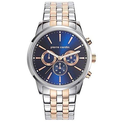 Pierre Cardin Herren Armbanduhr 45mm Armband Zweifaerbiger Edelstahl Zwei Ton Batterie Analog PC107931F06