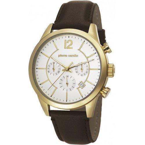 Pierre Cardin TROCA CHRONO Chronograph Edelstahl Gold Lederband Braun PC106591F13