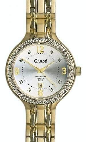 GARDE Damen-Armbanduhr Elegant Analog Titan-Armband gold Quarz-Uhr Ziffernblatt silber weiss UGA21922