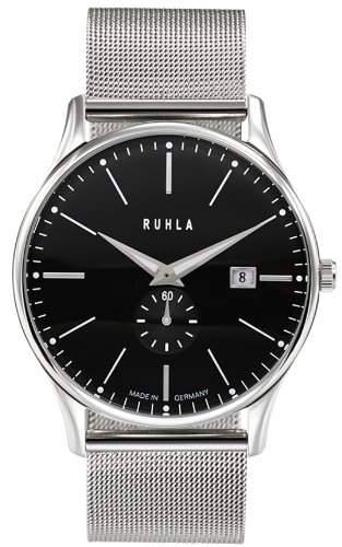 Ruhla classic 91234M Garde Herrenuhr rund Milanaiseband Stahl Armbanduhr Zifferblatt schwarz Datum