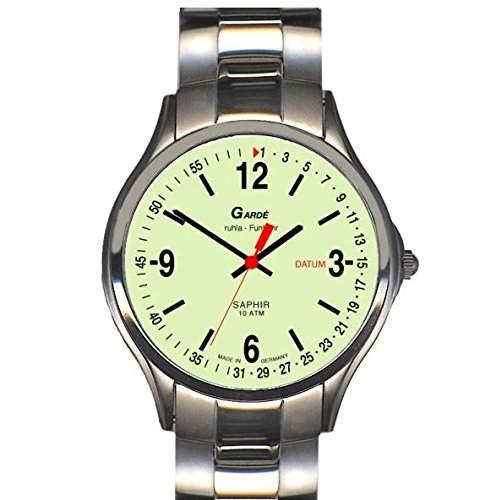 Garde Uhren aus Ruhla Funkuhr mit Saphirglas Herrenuhr 94-26M nachtleuchtend