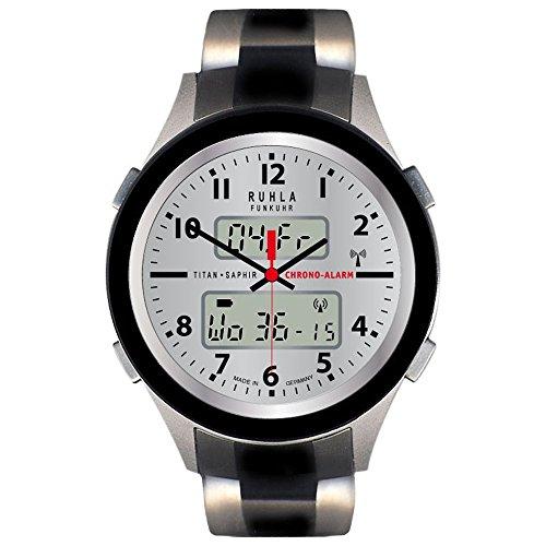 RUHLA Herren Armbanduhr Elegant Chronograph Titan Armbandband schwarz silber Funkuhr Uhr Ziffernblatt silber URU27017CM