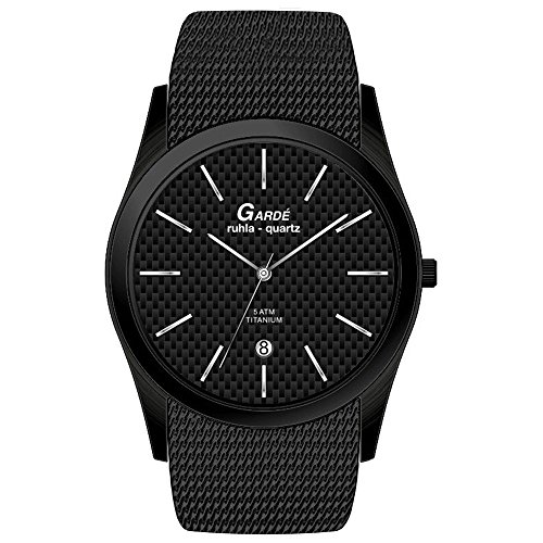 GARDE Elegant Analog Edelstahl Armband schwarz Quarz Uhr Ziffernblatt schwarz UGA21572