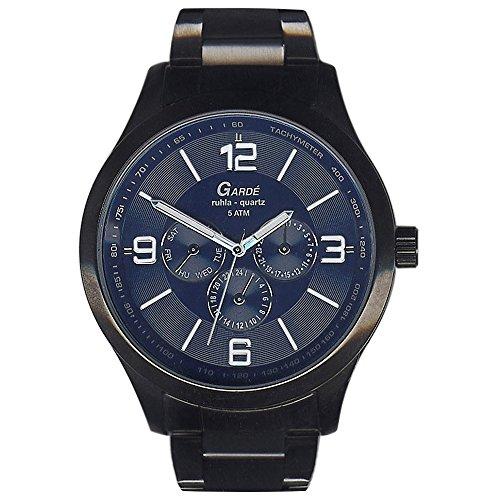 GARDE Elegant Analog Edelstahl Armband schwarz grau Quarz Uhr Ziffernblatt blau UGA22422