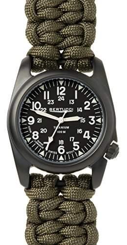 Bertucci 12077Herren a-2t gruen Stoff Band mit schwarzem Zifferblatt Armbanduhr