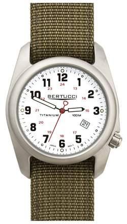 Bertucci a-2t Herren-Armbanduhr-Titan-Olive Nylon Gurt-weiss Zifferblatt-12121