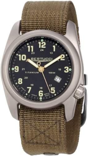 Bertucci a-2t Original Classic Herren Armbanduhr Titan-Dark Khaki Nylon Strap-Schwarz Zifferblatt N - 12700