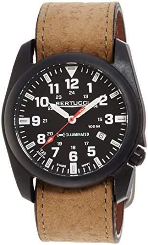 Bertucci 13504Herren a-5p beleuchtet schwarz Zifferblatt braun Leder Armbanduhr