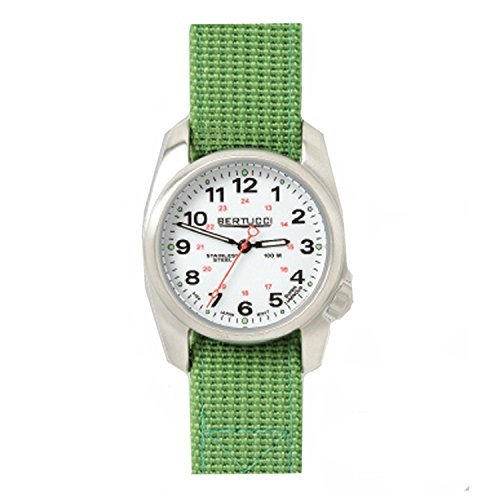 Bertucci 10016 Herren Edelstahl Jungle Gruen Nylon Band weiss Zifferblatt Smart Watch