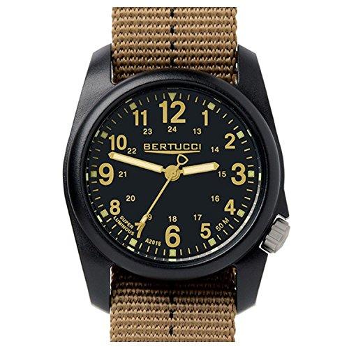 Bertucci 11041 DX3 Field Armbanduhr Kunstharz gestreiftes Khaki Nylonband Schwarzes Zifferblatt Armbanduhr