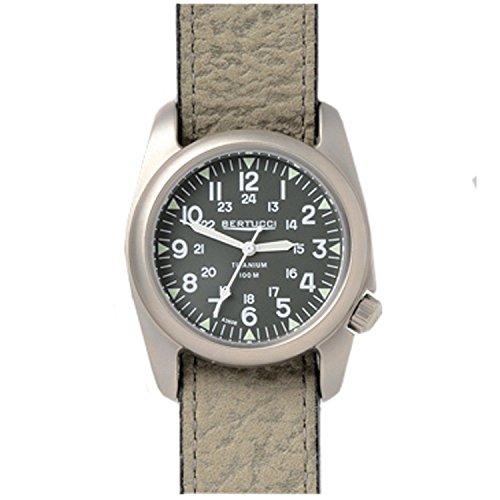 Bertucci 12081 grau Lederband Band Gruen Zifferblatt Armbanduhr