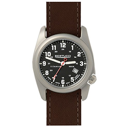 Bertucci 12087 Braun Leder Strap Band Schwarz Zifferblatt Armbanduhr