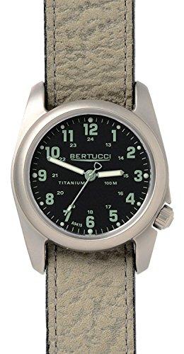 Bertucci 12096 Unisex Blattwerk Survival Leder Band Schwarz Zifferblatt Smart Watch