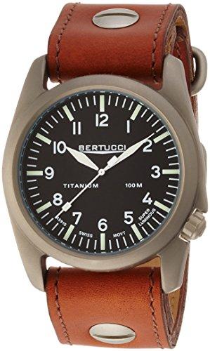 Bertucci 13401 A 4T Sportler 44 Aero Weinlese Plastikfall Brown Band Titan Uhr