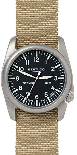 Bertucci 13444 Herren A 4T Aero Schwarz Zifferblatt Beige Nylon Armbanduhr