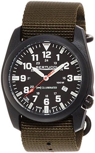 Bertucci 13501 Herren a 5p beleuchtet schwarz Zifferblatt Olive Gruen Nylon Armbanduhr
