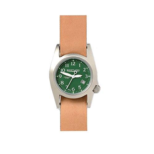 Bertucci Abdeckkappe Unisex Edelstahl Tan Leder Band Zifferblatt gruen Smart Watch