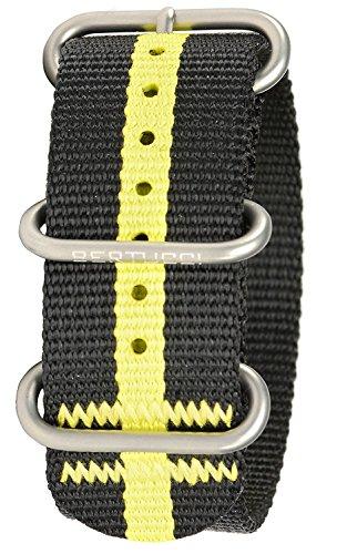 Bertucci B DX3 90 Herren Schwarz Gelb gestreift Nylon Smart Watch Band