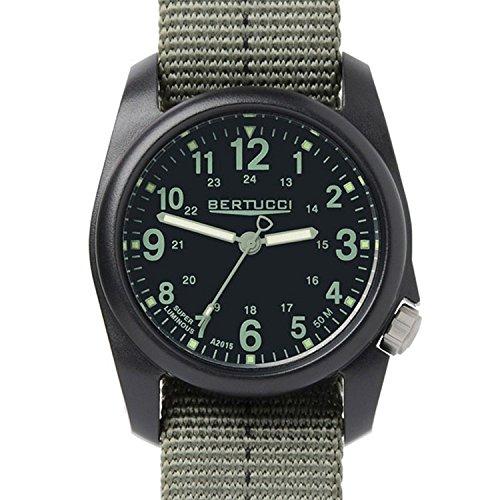 Bertucci DX3 Field Harz Uhr dash striped Drab Nylon Strap schwarz Zifferblatt 11040