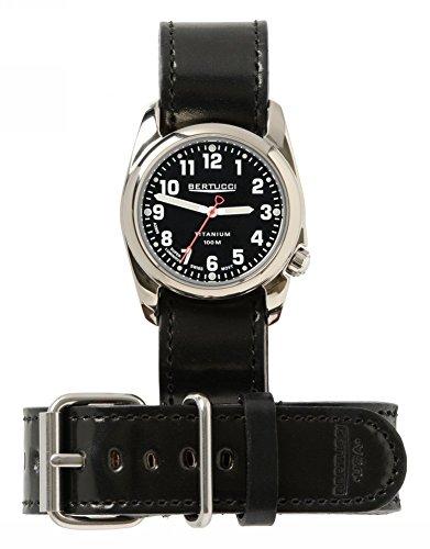 Bertucci h12104 Unisex Titan Heritage schwarz Leder Band Schwarz Zifferblatt Armbanduhr