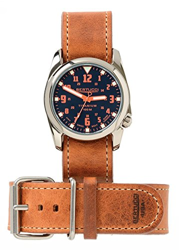 Bertucci h13461 Unisex Titan Heritage Orange Leder Band Sea Blue Dial Armbanduhr