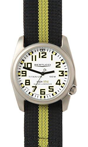 Bertucci 13417 A 4T Herren Titan Multokreuz Nylonband Schwarz Super Luminova Weiss Zifferblatt 44 Aero Uhr