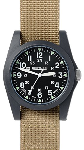 Bertucci A 3P Sportsman Vintage Field Watch Black Khaki Nylon 13352