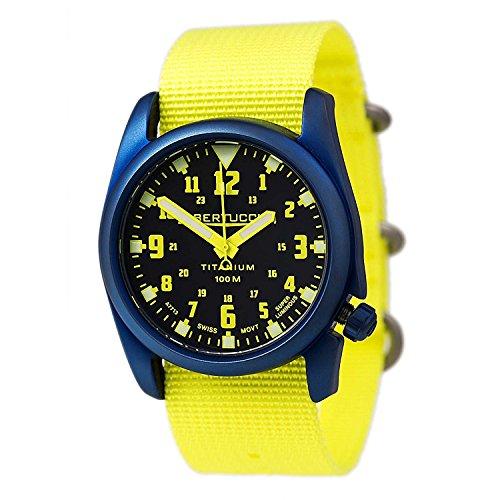 Bertucci 13433 A 4T Unisex Titanium Gelb Nylon Armband Schwarzes Zifferblatt Nautical HP Uhr