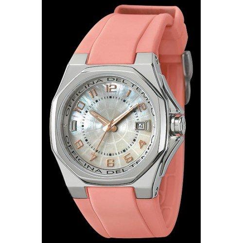 Uhr Officina Del Tempo ot1028 02WP Kautschuk Armband Pink mit Box aus Edelstahl rund