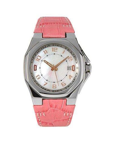Uhr Officina Del Tempo ot1028 01wg Lederband pink und Box in Stahl