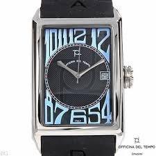 Schwarze Uhr Officina Del Tempo OT1027 02 N Kautschuk Armband rechteckige Box