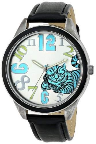 Alice in Wonderland Damen AL1002B Cheshire Cat Silver Dial Black Leather Strap Armbanduhr