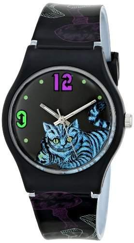 Alice in Wonderland Damen AL1010 Cheshire Cat Black Dial Plastic Strap Armbanduhr